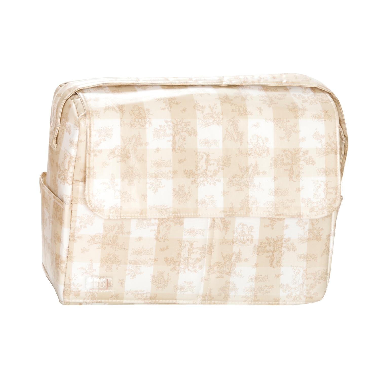 Bolso plastificado Toile de Jouy beige