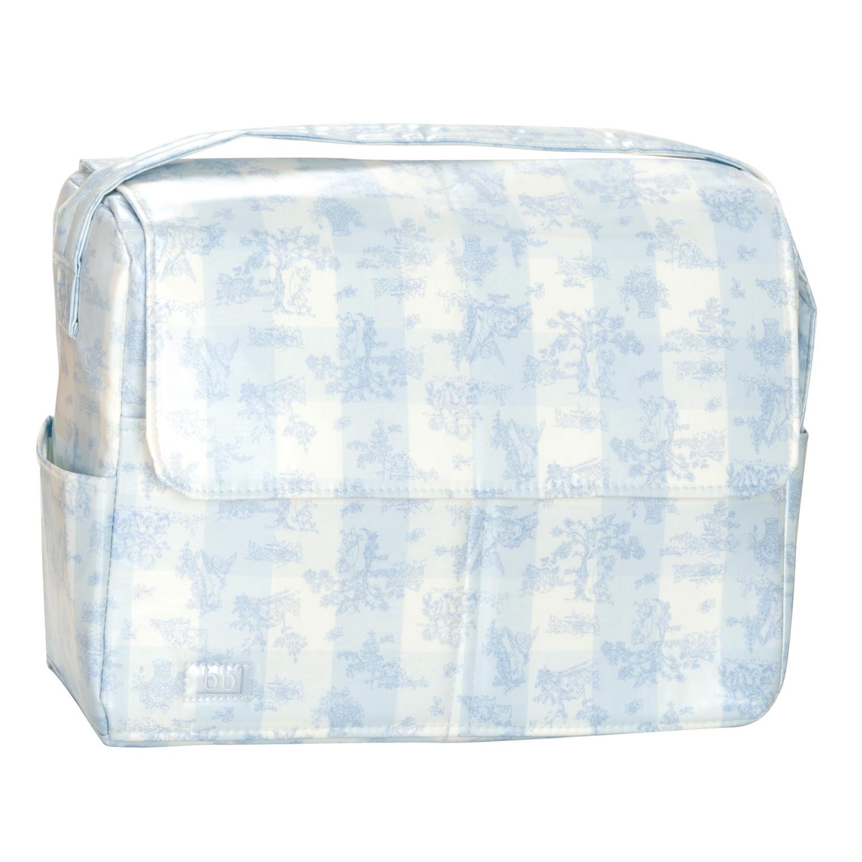 Bolso plastificado Toile de Jouy celeste