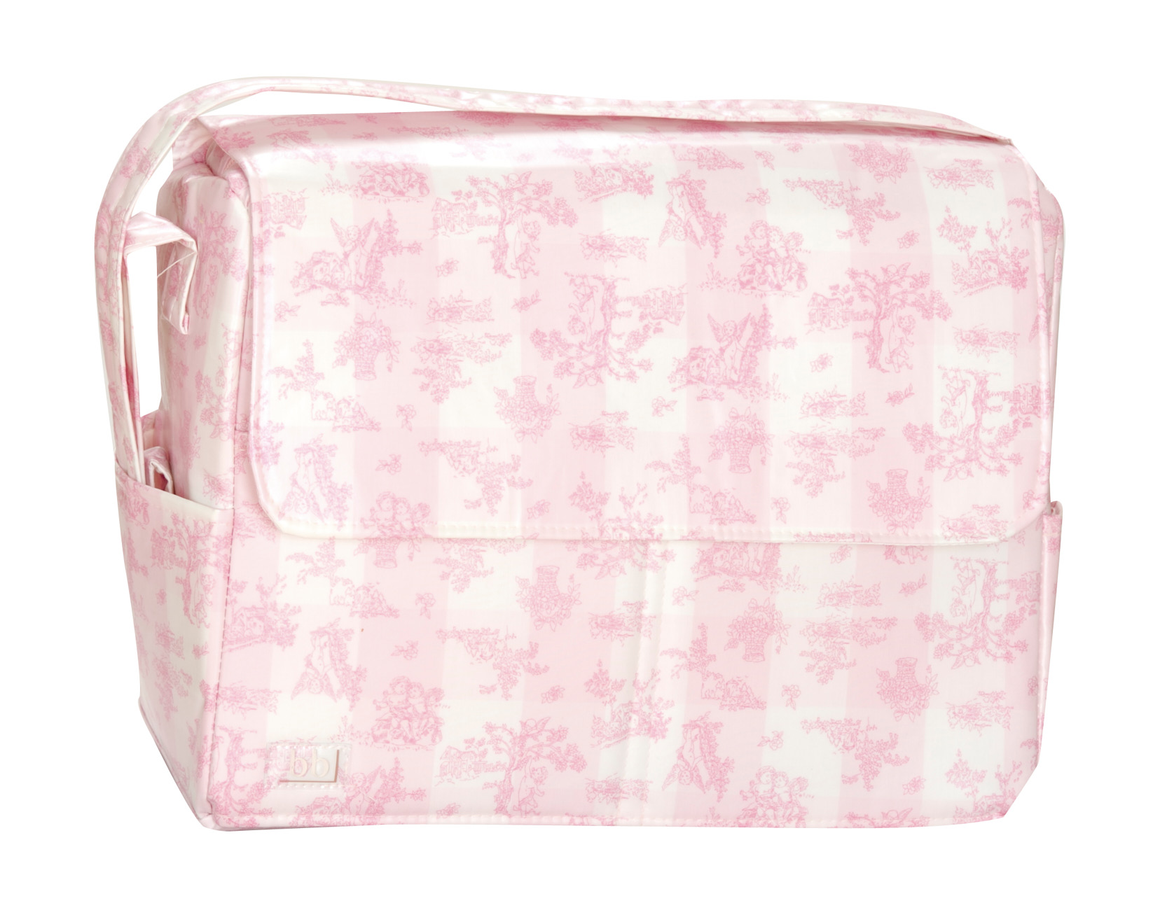 Bolso plastificado Toile de Jouy rosa